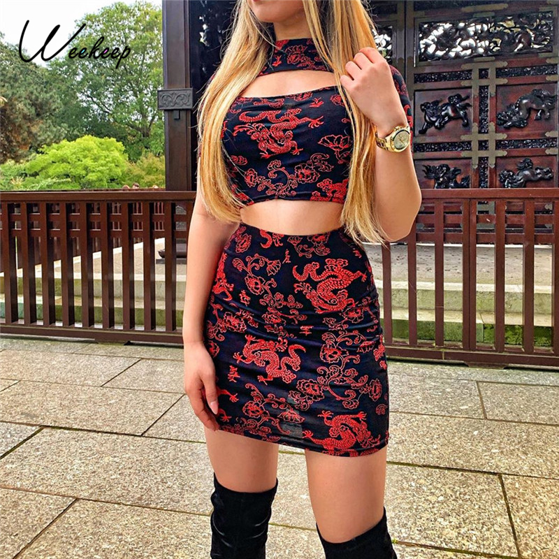 Weekeep Chinese Style Two Piece Set Dragon Print Crop Top And Skirt Hollow Out 2020 Summer Sexy Two Piece Mini Skirt Set Outfits
