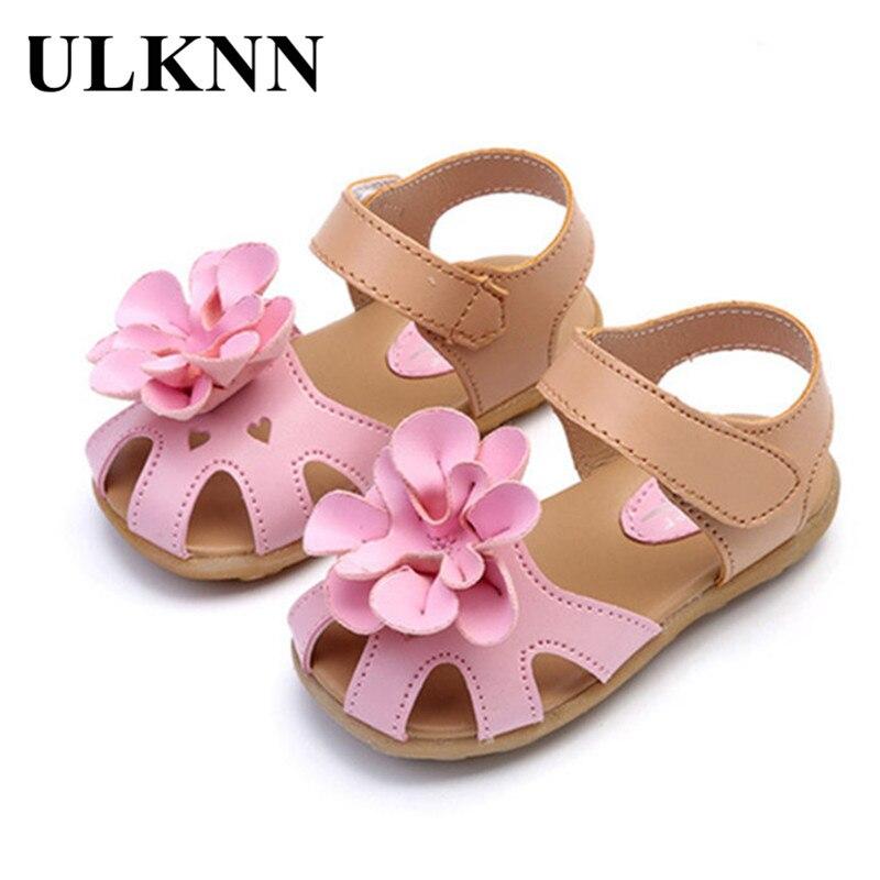 ULKNN Children Shoes Summer PU Leather Flower Children Sandals Sneakers First Walkers Girls Antiskid Shoes size21-33
