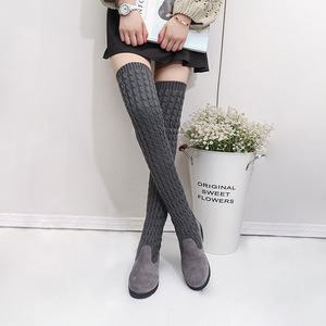 Image 2 - Womens Boots 2020 Autumn Winter Thigh High Boots For Woman Shoes Knitting Wool Long Boot Ladies Shoes Women Socks boots