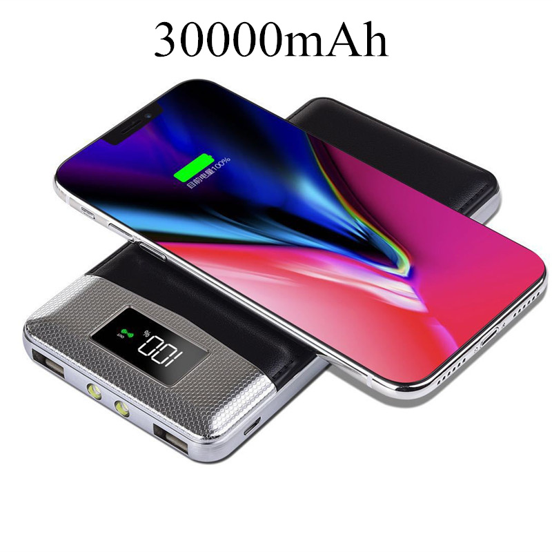TOP 30000mAh QI Wireless Charger Power Bank For iPhone Samsung Powerbank Dual USB Charger Wireless External Battery Pack Bank usb battery bank charger
