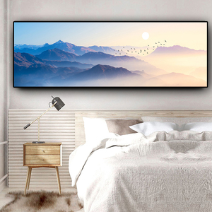 Sunsets Natural mountain Brid Could Landscape Abstract Canvas Painting Posters and Prints Wall Art Picture for Living Room