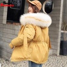 2019 Winter Parkas kurtka dla kobiet zagęścić ciepły płaszcz z kapturem płaszcz Casual big odzież zewnętrzna z futrzanym kołnierzem zdobywaj talia płaszcz z kapturem M 2XL
