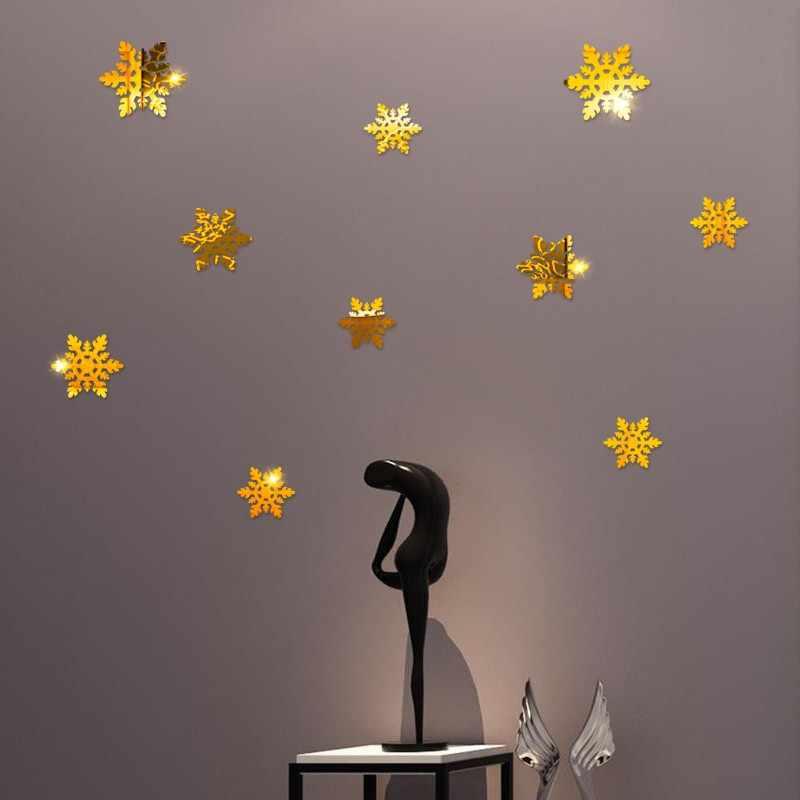 Рождество 10 шт. зеркальные настенные наклейки съемные обои Золото/Серебро