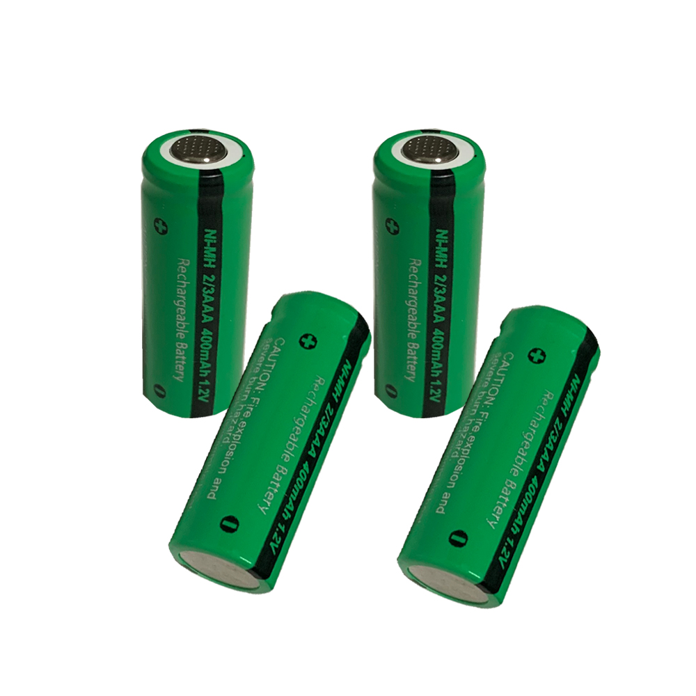 4 sztuk PKCELL 2/3AAA 400mah 1.2v NI-MH akumulator 2/3 aaa baterie płasko zakończony dla zabawek bezprzewodowa mysz uchwyt do gier