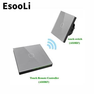 EsooLi Grey EU Standard 1/2/3 Gang 2 Way Wireless Remote Wall Light Touch Switch Wireless Stick Remote Touch Switch MUTE Switch