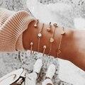 Tocona корейские браслеты с кристаллами в форме сердца многослойная открытая Регулируемая цепочка женский модный браслет 2019 ювелирный подаро...
