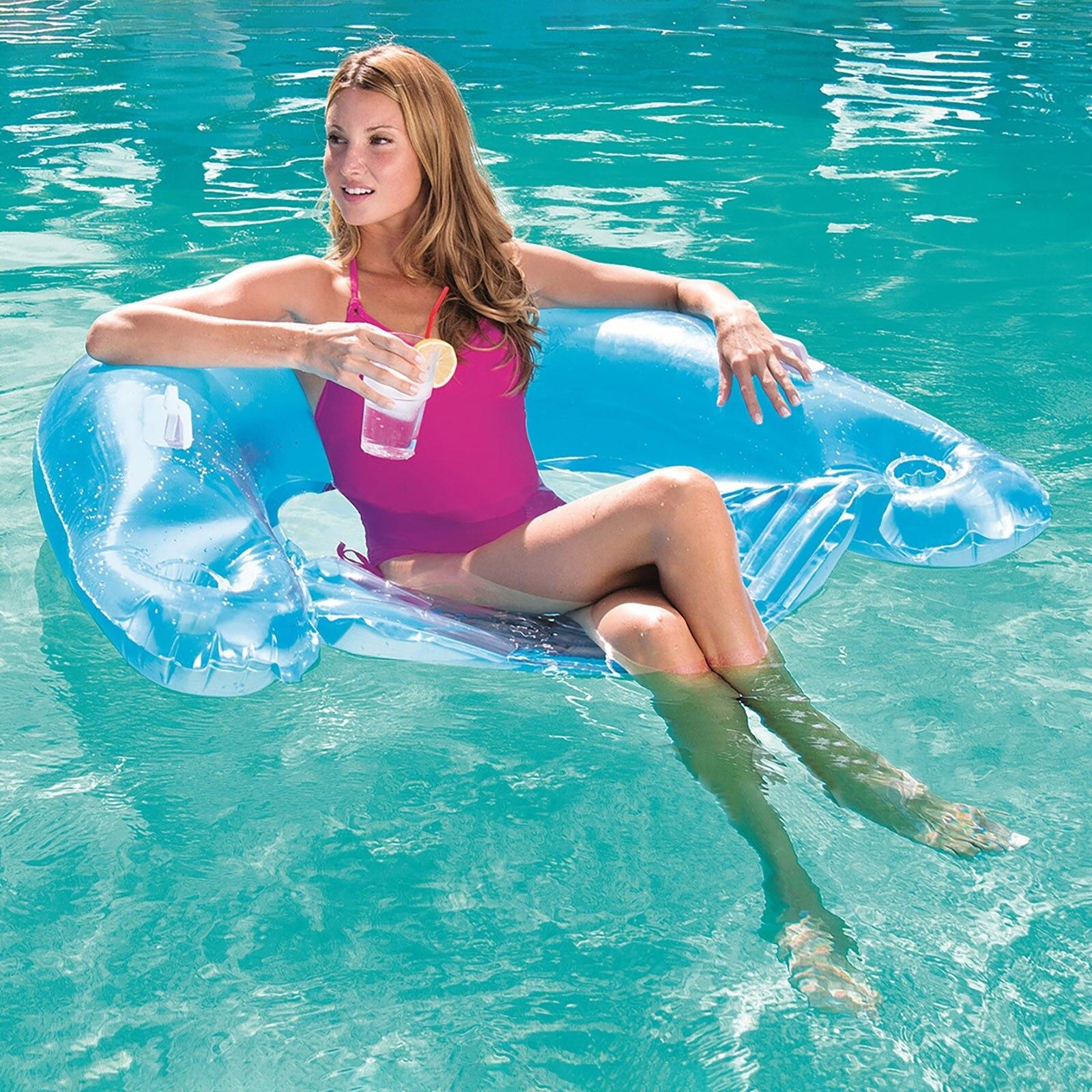 Water Inflatable Backrest Recliner Floating Bed Sitting Floating Bed Summer Pour Enfants Kids Kawaii Garçon Fille