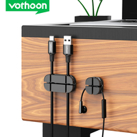 Vothoon Cross Cable Organizer Clip Silicone USB Cable Winder Flexible Cable Management Clips Cable Holder For Headphone Earphone