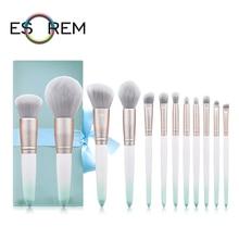 ESOREM Gradient 12pcs Makeup Brushes Set Professional With Bag Tapered Highlight Eyeliner Brush Loose Powder Brochas Maquillaje