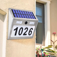 Solar Light House Number Plaque with 200LM Motion Sensor LED Lights Address Home Garden Door Lamp Lighting