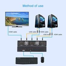 All-Metal Shell HDMI-Compatible KVM Switch 2 Port 4K USB Switch KVM VGA Switcher Splitter Box For Sharing Keyboard Mouse KVM