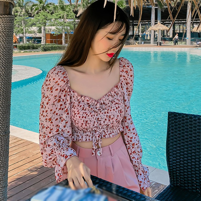 Women's Square Collar Tops Clothes Short Chiffon Shirt Blouses New Sexy Sweet Pleated Small Floral Print Full Summer Streetwear 4