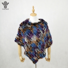 VISI HOP Fashion Style Womens Poncho Real Rabbit Fur Knitted Shawl Ladies Top Quality Cape VS5201