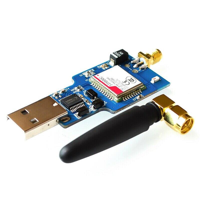 Tüketici Elektroniği'ten Pil Aksesuarları'de Usb Gsm seri Gprs Sim800C modülü Bluetooth bilgisayar kontrol + anten title=