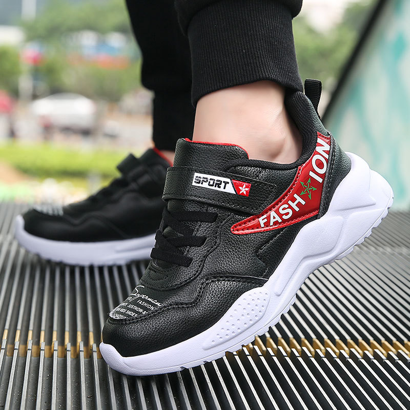 Waterproof Leather Boy Junior High School Students Athletic Shoes Trend 2019 New Style Spring And Autumn Big Boy BOY'S Casual Sh