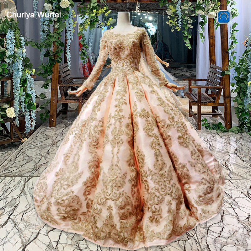 HTL438 Golden Lace Muslim Evening Dresses Floor Length O-neck Full Sleeves Lace Up Back Party Dress 2019 Swollen Abiye Elbiseler