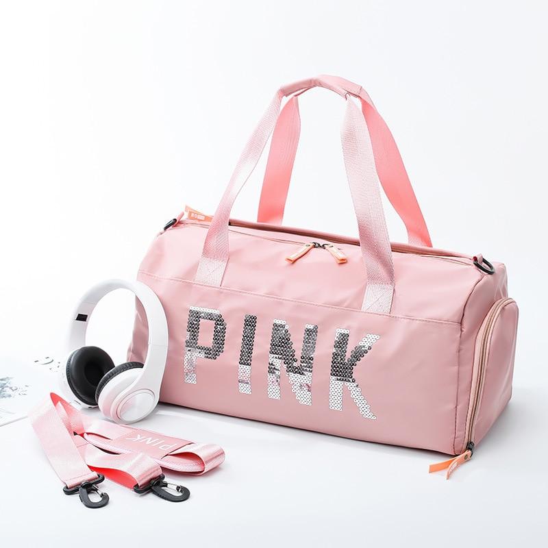 Shoes-Hand Sports Yoga Gym Bag Short Trip Shoulder Travel Bag Waterproof Pink Women's Travel Bag