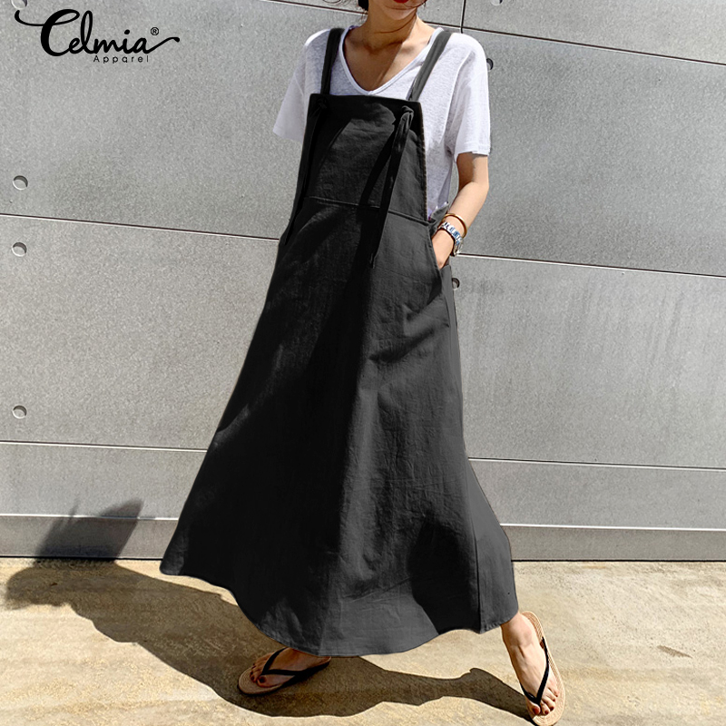 Vintage Casual Apron Dress Women's Sundress 2019 Celmia Summer Linen Overalls Suspender Long Dress Female Maxi Vestidos Robe 5XL image