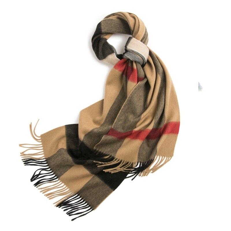 Plaid 100% Lambswool Scarf Wraps For Unisex Men Women Winter Warm Scarves Shawl 220x40cm