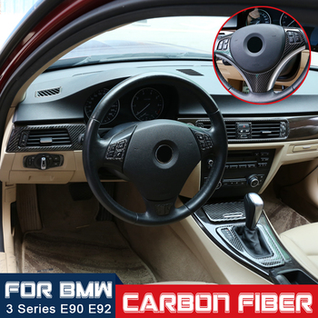 Car interior modification Carbon fiber decoration Center Air Conditioning Outlet Panel For BMW 3 series E90 E92 E93 2005-2012 image