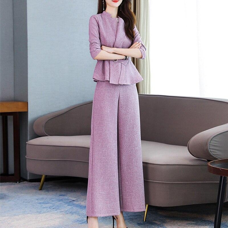 2019 Autumn Office Elegant Two Piece Sets Outfits Women Plus Size Short Coat And Wide Leg Pants Suits Korean Ladies Women's Sets 52