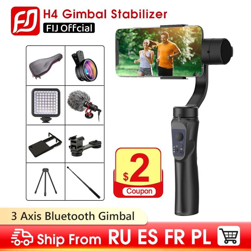 FIJ 3-осевой ручной шарнирный стабилизатор для камеры GoPro w/фокус Pull & Zoom для iPhone Xs Max Xr X 8 плюс 7 6 Plus SE Samsung Экшн-камера