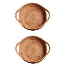 2Pc Wicker Storage Basket Fruit Dish Rattan for Weaving Handmade for Kitchen Food Picnic Bread Sundries Decor Container Organize(China)