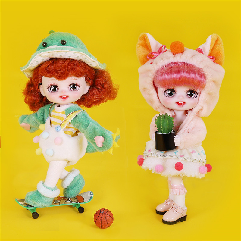 Sonho de fadas 1/8 bonecas 6 polegada animal bonito vestir-se bjd boneca maquiagem brinquedo diy mini bolso boneca presente de natal para meninas