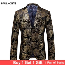 PAULKONTE 2019 New Yellow Embroidery Mostly Male Jacket For Men Fashion High Quality Slim Fit Blazer Classic Mens