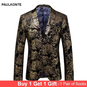 PAULKONTE 2019 New Yellow Embroidery Mostly Male Jacket For Men Fashion High Quality Slim Fit Male Blazer Classic Men's Jacket