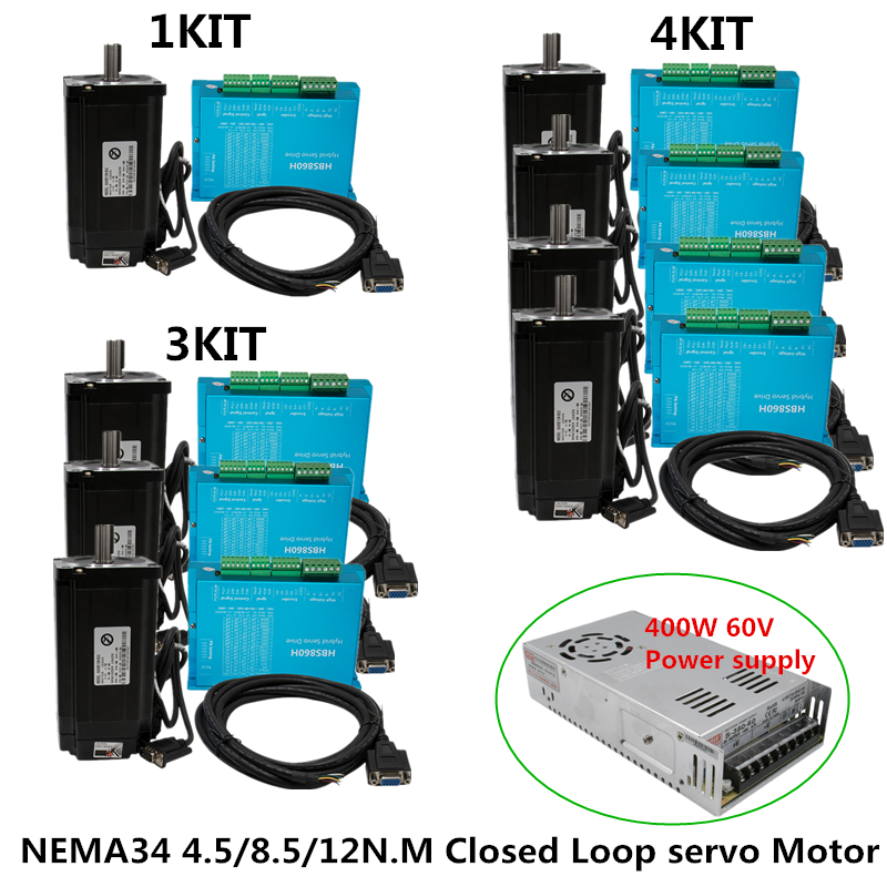 Free shippingNema 34 4.5N 8.5N 12N.m Closed Loop servo Motor + Servo Driver HBS860H+ encoder cable +400w60v POWER supply for CNC