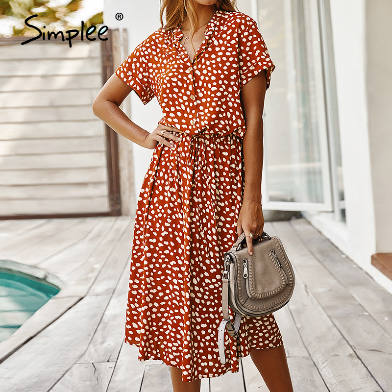 Simplee Sexy Leopard Print Summer Dress Women V-neck Shorts Sleeve Casual Female Midi Dress A-line Bohemian Ladies Beach Dress