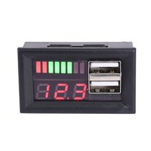 LED Digital Display Voltmeter Voltage Meter Volt Tester Dual USB 5V 2A For DC 12V Cars Motorcycles Vehicles Battery Capacity