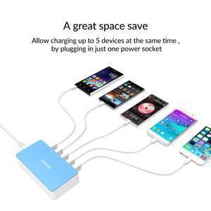 Image 2 - オリコ5ポートデスクトップusb充電器旅行充電アダプターのための急速充電スマートフォン4色インテリジェントな充電器の電源ソケット