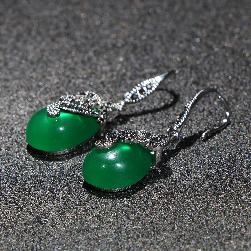 Ha1a04696d1c74caa96426649f9dbe62fc - Cellacity Vintage Silver 925 Jewelry Water Drop Shaped Gemstones Earrings for Women Emerald Ruby Ear drops Temperament Party
