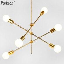 Современный подвесной светильник в скандинавском стиле, черные и золотые подвесные светильники, 2, 4, 5, 6, Светодиодная лампа E27, Подвесная лампа, светильник для украшения дома, светильник