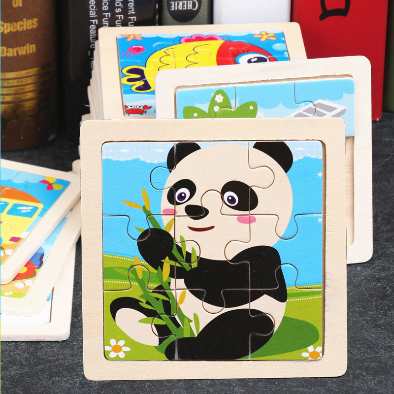 11*11cm Wodden Puzzle Toy Carton Animals Panda Whale Bee Rabbit Jigsaw Learning Educational Puzzles Toys for Children Kids Gift
