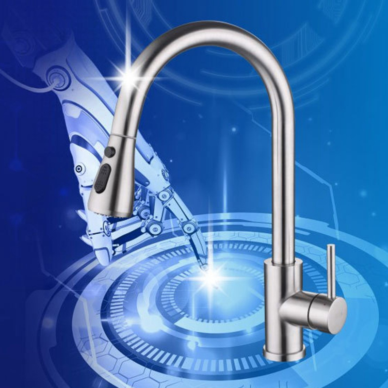 360 Rotating Bathroom Sink Faucet Hot and Cold Water Automatic Sensor
