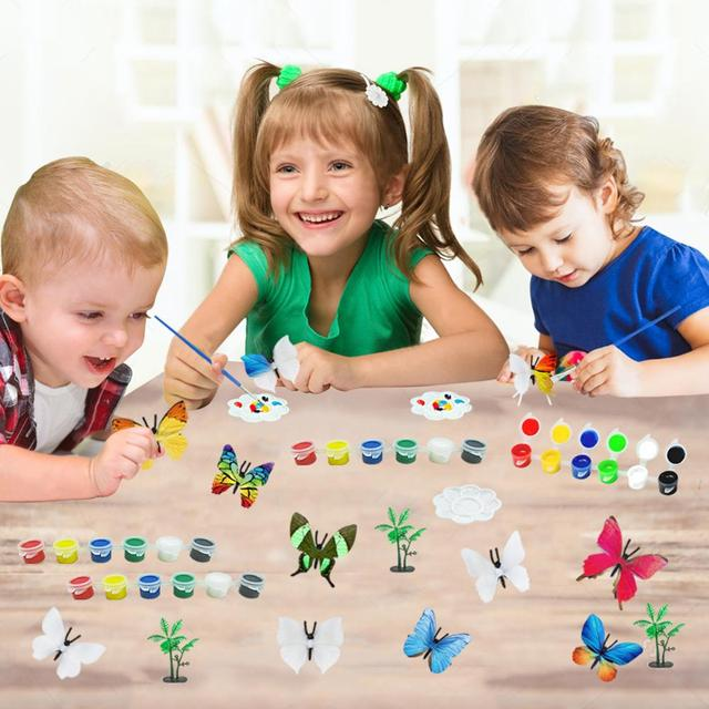 54PCS DIY Coloring 3D Hand Painting Animal Butterfly Model Drawing Graffiti Toy 2