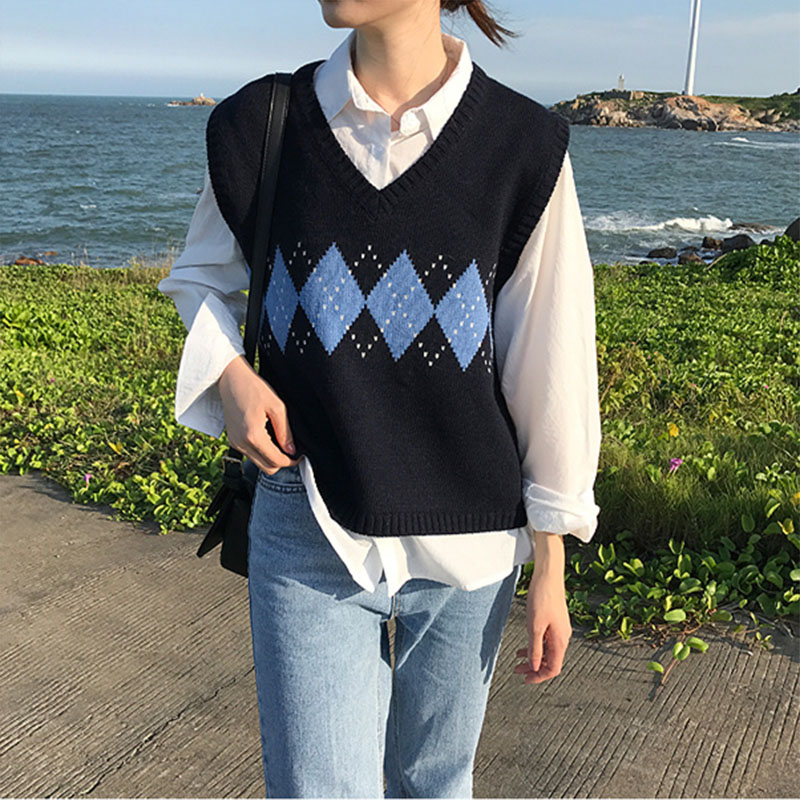 Pullover Argyle Elastic Sweater Vest Fashion Casual Tank Tops Vintage Spring Autumn 2020 Women Sleeveless V-Neck Knitted Vest