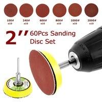 60 pces 100/240/600/800/1000/2000 grits disco de lixamento conjunto 2 polegada 50mm + laço almofada de lixamento com haste de 3mm para ferramentas de limpeza de polimento|Ferramentas abrasivas|Ferramenta -