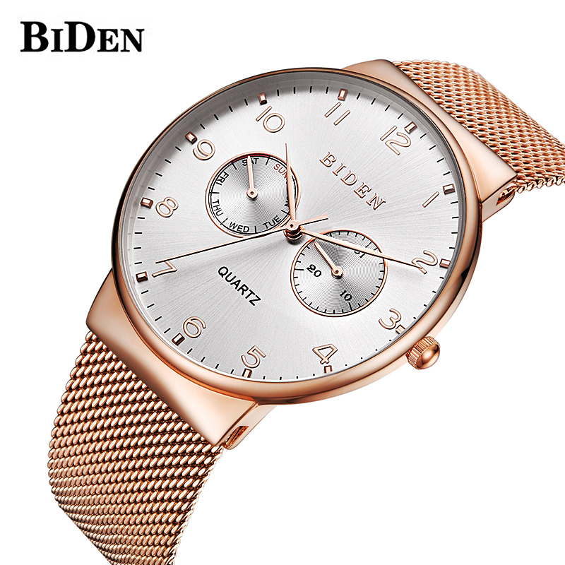New Mens Watches Top Brand Luxury Date Day Quartz Watch Men Casual Slim Mesh Steel Waterproof Sport Watch Relogio Masculino