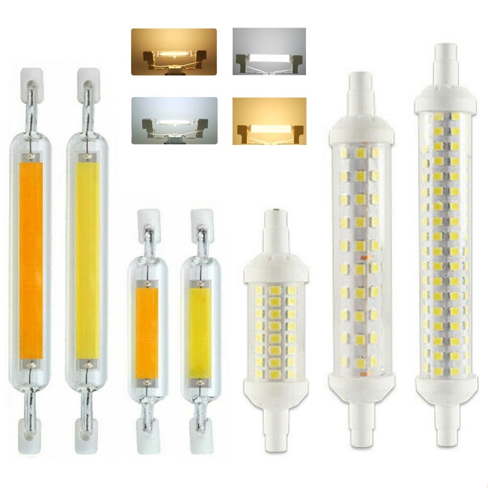 Dimmable <font><b>LED</b></font> <font><b>R7S</b></font> Glass Tube COB Bulb Ceramics 78MM 118MM <font><b>R7S</b></font> Corn Lamp 12W 15W 20W J78 J118 SMD 2835 Replace Halogen Lampadas image