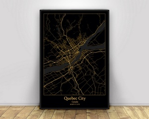 Quebec City Canada Black&Gold City Light Maps Custom World City Map Posters Canvas Prints Nordic Style Wall Art Home Decor