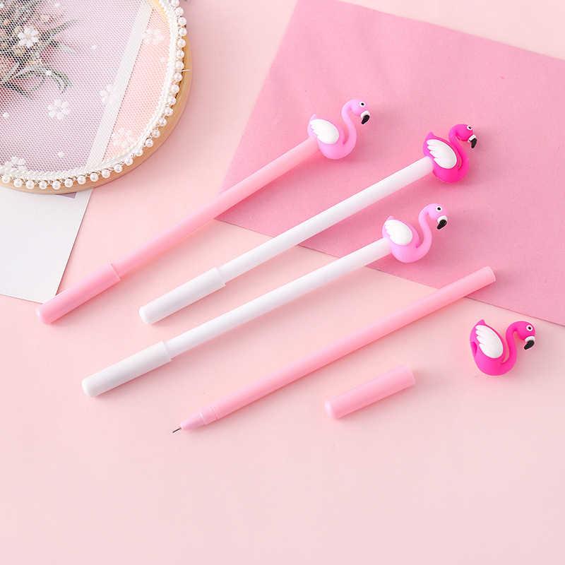Ellen Brook 1 Pcs Lucu Kartun Kawaii Flamingo Kawaii Stationery Hadiah Sekolah Alat Tulis Kantor Pemasok Anak-anak Bolpoin Tinta Gel
