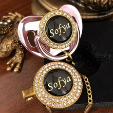 MIYOCAR Personalized any name can make gold bling pacifier black gold and pacifier clip BPA free dummy bling unique design P8