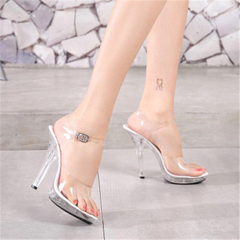 12 Cm High Crystal Thin Heel Slippers, Female Summer Waterproof Platform Slip Thick Bottom Sexy Model Pole Dancing Shoes