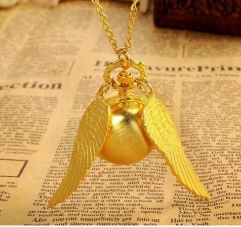 100pcs/lot 2020 new  Potter Golden wings quartz Gifts for children Necklace pocket watch Free shipping