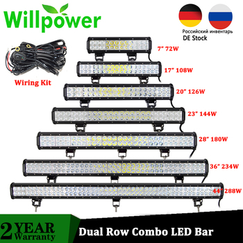 цена на Willpower 12 22 20  Offroad LED Bar Spot Flood Combo 20 inch 126W Lamp Work Lights for 4x4 Truck SUV ATV Boat Car 4WD 12V 24V
