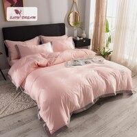 SlowDream Luxury 100% Silk Pink Bedding Set Comforter Duvet Cover Silky Bed Sheet Double Queen King Bed Linen Bedclothe Bed Set